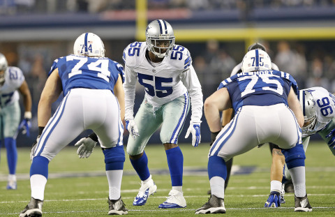 Dallas Cowboys linebacker Rolando McClain (55) during an NFL football game against the Indianapolis Colts on Sunday, December 21, 2014 at AT&T Stadium in Arlington, Texas.  The Cowboys defeated the Colts, 42-7.  (AP Photo/James D Smith)