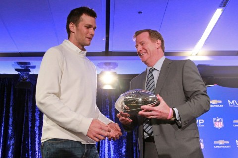 Feb 2, 2015; Phoenix, AZ, USA; New England Patriots quarterback Tom Brady (left) and NFL Commissioner Roger Goodell pose with the Pete Rozelle trophy during the Super Bowl XLIX-Winning Head Coach and MVP Press Conference at Media Center-Press Conference Room B. Mandatory Credit: Joe Camporeale-USA TODAY Sports ORG XMIT: USATSI-221290 ORIG FILE ID:  20150202_tcb_aa9_015.JPG