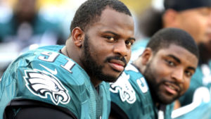 JACKSONVILLE, FL - AUGUST 24: Fletcher Cox #91 of the Philadelphia Eagles sits on the sidelines before a game against the Jacksonville Jaguars at EverBank Field on August 24, 2013 in Jacksonville, Florida. (Photo by Brian Cleary/Getty Images)