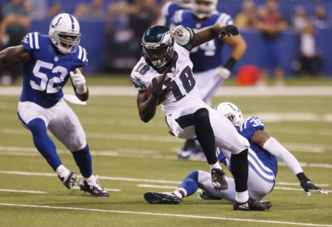 Aug 27, 2016; Indianapolis, IN, USA; Philadelphia Eagles wide receiver Dorial Green-Beckham (18) runs with the ball after making a catch against Indianapolis Colts linebacker D'Qwell Jackson (52) at Lucas Oil Stadium. Mandatory Credit: Brian Spurlock-USA TODAY Sports
