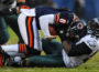 JAMES BROSHER/Journal Star Philadelphia Eagles defensive end Trent Cole (58) drags down Chicago Bears quarterback Jay Cutler (6) for a sack during the first half of a game on Sunday, Nov. 28, 2010, at Soldier Field in Chicago.
